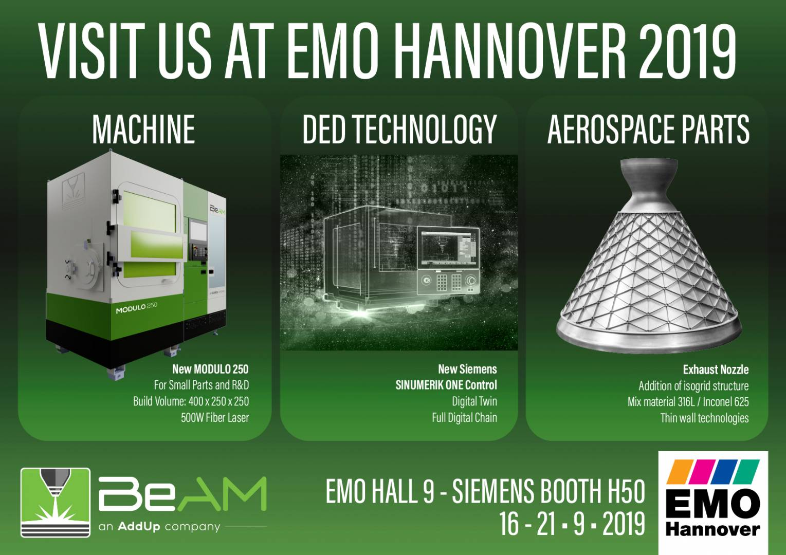 BeAM at EMO Hannover 2019 flyer